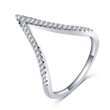 MINNIE. Deep V Wishbone Diamanté Cubic Zirconia Ring | Elnique