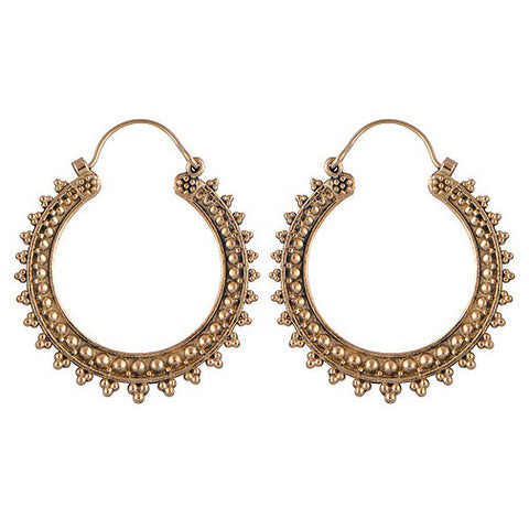 MIRABELLE. Chunky Spiked Brass Tribal Hoops | Elnique