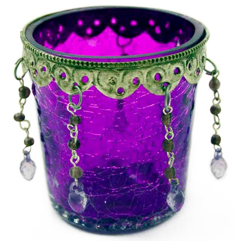 MISCHA. Purple Glass Tea Light Holder | Elnique
