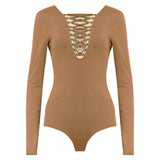 MOLLY. Camel Long Sleeve Lace Up Bodysuit | Elnique