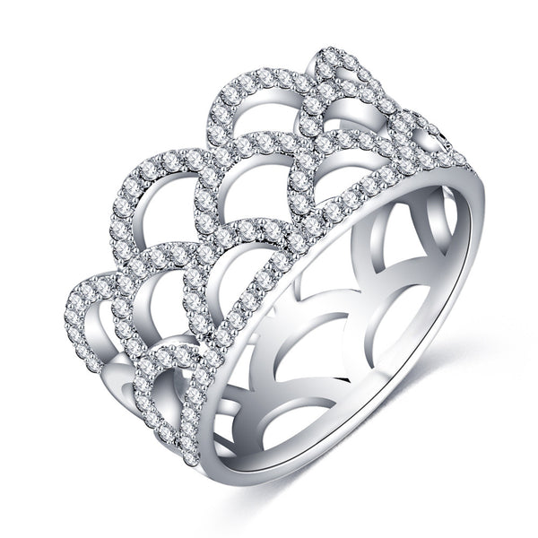 MONROE. Princess Tiara Diamanté Cubic Zirconia Silver Ring | Elnique