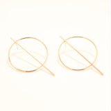 NALA. Gold Plated Geometric Hoop and Bar Earrings | Elnique