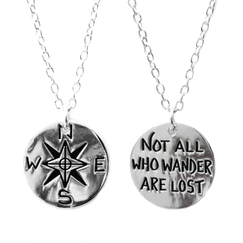 """Not All Who Wander Are Lost"" Silver Compass Charm Necklace 