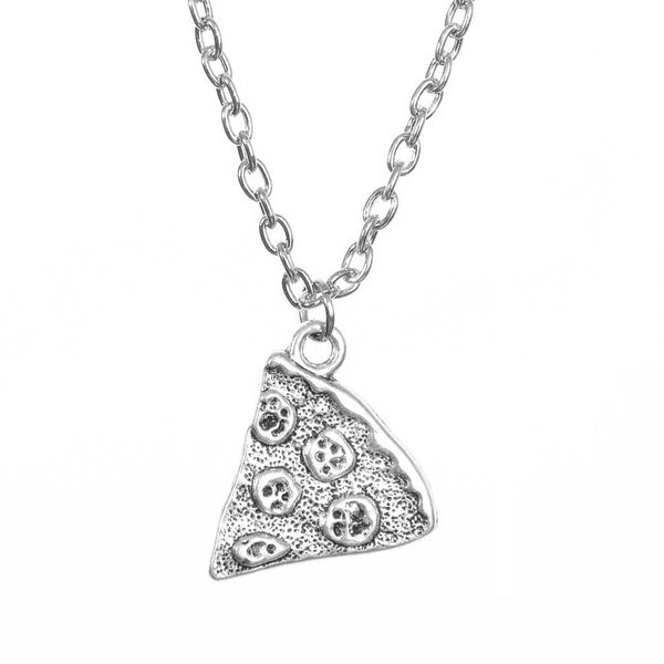 Silver Plated Pizza BFF Friendship Necklace | Elnique