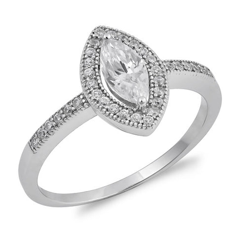 MILAN. Marquise Cubic Zirconia Ring (.925 Sterling Silver) | Elnique