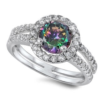 PENELOPE. Mystic Topaz CZ Ring (.925 Sterling Silver) | Elnique