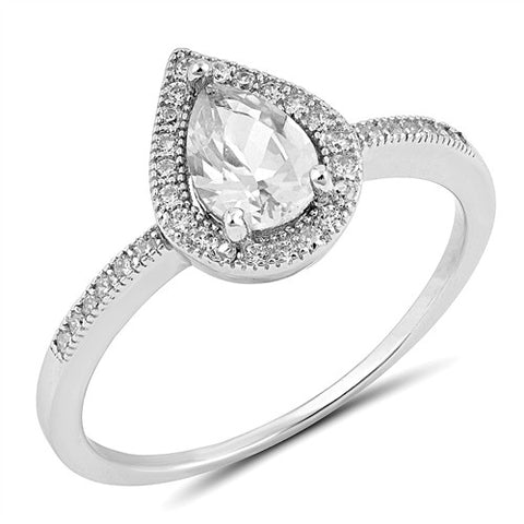 AMOUR. Cubic Zirconia Teardrop Ring (.925 Sterling Silver) | Elnique
