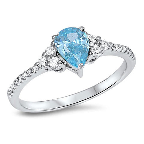 HORIZON. Aquamarine CZ Dainty Teardrop Ring (.925 Sterling Silver) | Elnique