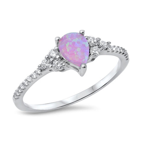 HORIZON. Pink Opal CZ Dainty Teardrop Ring (.925 Sterling Silver) | Elnique