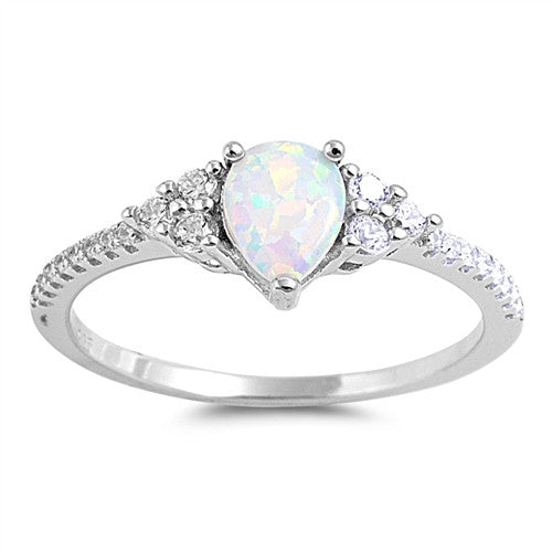 HORIZON. White Opal CZ Dainty Teardrop Ring (.925 Sterling Silver) | Elnique
