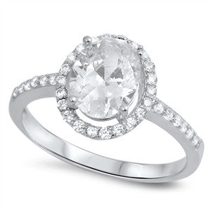 MITZI. Oval Cubic Zirconia Ring (.925 Sterling Silver) | Elnique
