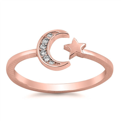 ALIGN. Rose Gold Crescent Moon and Star CZ Ring (.925 Sterling Silver) | Elnique
