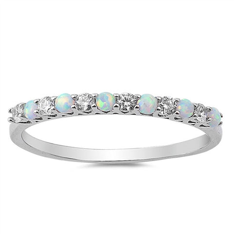 EPIPHANY. Opal CZ Eternity Stacking Ring (.925 Sterling Silver) | Elnique