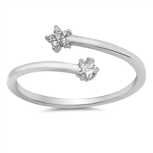 STARLUST. Cubic Zirconia Flower and Star Wrap Ring (.925 Sterling Silver) | Elnique