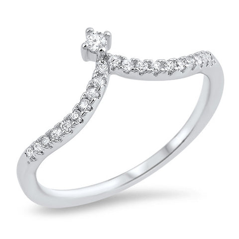 EMPRESS. Cubic Zirconia Wishbone Ring (.925 Sterling Silver) | Elnique