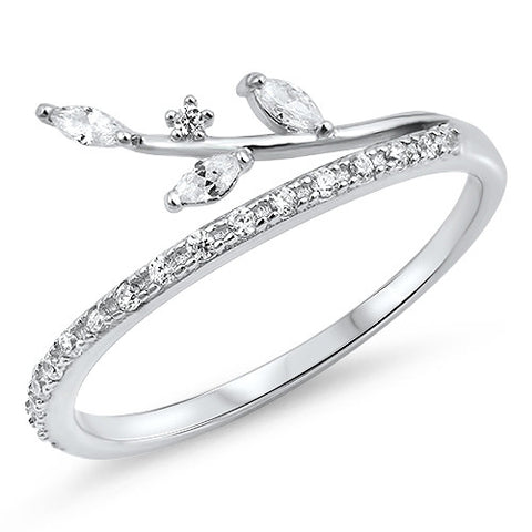 ASPEN. Cubic Zirconia Leaf Wrap Ring (.925 Sterling Silver) | Elnique