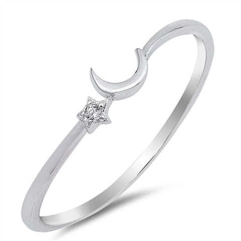 ARIA. Tiny Moon and Star Stacking Ring (.925 Sterling Silver) | Elnique