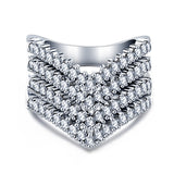 REIGN. Quadruple Wishbone Diamanté Cubic Zirconia Silver Ring | Elnique