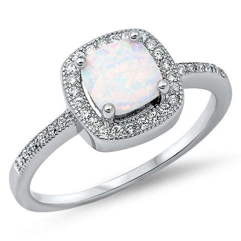 SLOANE. Square Opal CZ Ring (.925 Sterling Silver) | Elnique