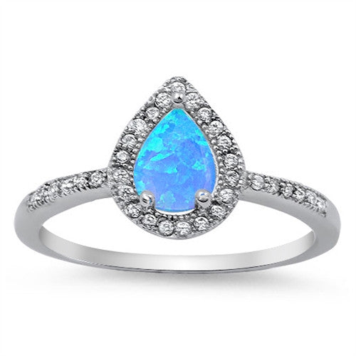 AMOUR. Blue Opal CZ Teardrop Ring (.925 Sterling Silver) | Elnique