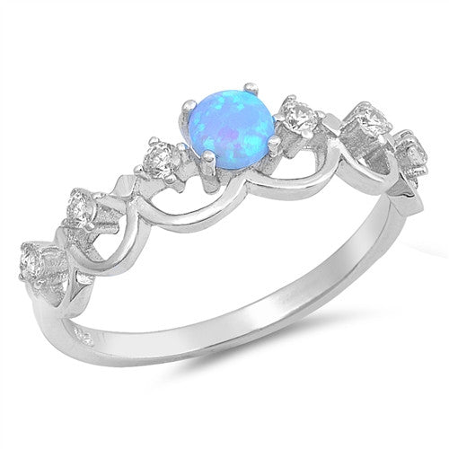ELLA. Blue Opal CZ Mermaid Crown Ring (.925 Sterling Silver) | Elnique