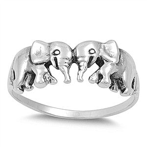 KISSING ELEPHANTS Ring (.925 Sterling Silver) | Elnique