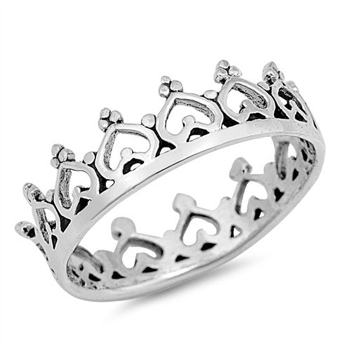 ORIANA. Ornate Crown Stacking Ring (.925 Sterling Silver) | Elnique