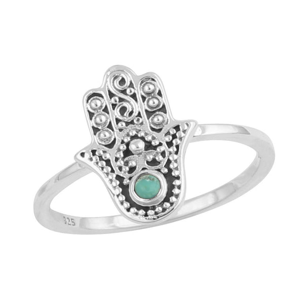 ZADA. Ornate Turquoise Hamsa Hand Ring (.925 Sterling Silver) | Elnique