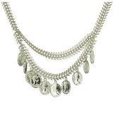 SAHARA. Silver/Gold Statement Fishbone Coin Necklace | Elnique