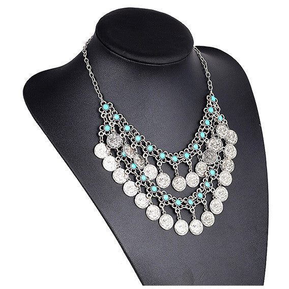 SKYE. Silver and Turquoise Statement Coin Necklace | Elnique