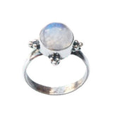 TABITHA. Rainbow Moonstone Circular Dot Work Ring (.925 Sterling Silver) | Elnique