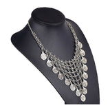 TALIA. Silver Statement Bib Coin Necklace | Elnique