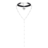 TARA. Black Velvet Cross Choker + Silver Beaded Lariat 2 Piece Set | Elnique