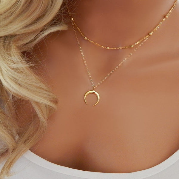 THORNE. Gold Tone 2 Piece Crescent Moon Necklace Set