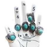 Faux Turquoise Silver Tone Statement Ring | Elnique