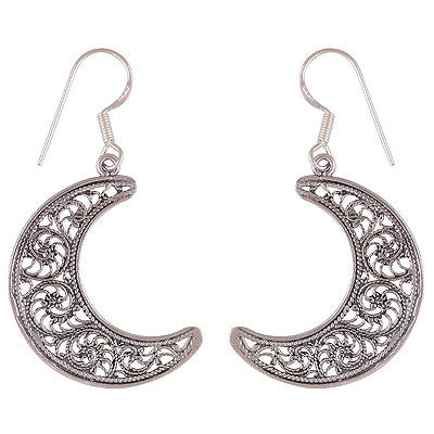 VERITY. Ornamental Crescent Moon Earrings (Sterling Silver) | Elnique