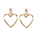 YSABEL. Gold Double Heart Hoop Earrings | Elnique