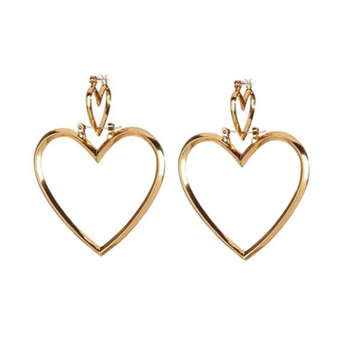 YSABEL. Gold Double Heart Hoop Earrings - ELNIQUE | Shop a treasure trove of boho jewellery, accessories and clothing