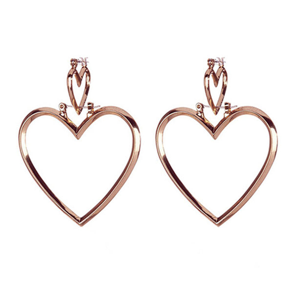 YSABEL. Rose Gold Double Heart Hoop Earrings | Elnique