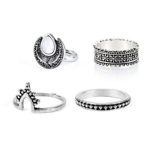 ZO. 4 Piece Silver Tone Gemstone Ring Set | Elnique