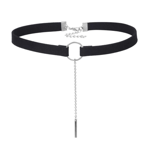 LOREN. Black Silver Faux Suede Circle Choker | Elnique
