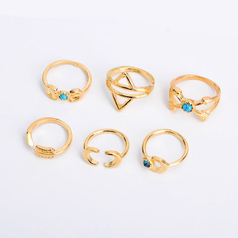 DESERT MOON. Gold/Turquoise Boho 6 Piece Ring Set - ELNIQUE | Shop a treasure trove of boho jewellery, accessories and clothing
