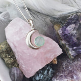 LILY. Aqua Chalcedony Crescent Moon Necklace (.925 Sterling Silver) | Elnique