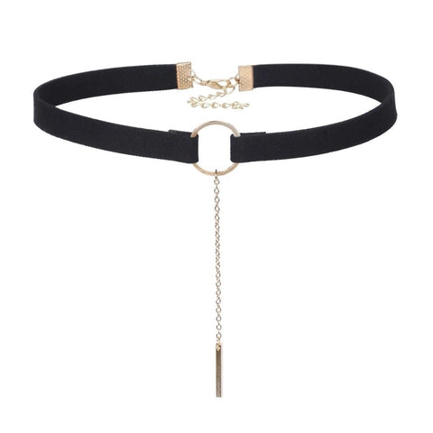 LOREN Black Gold Faux Suede Circle Choker | Elnique