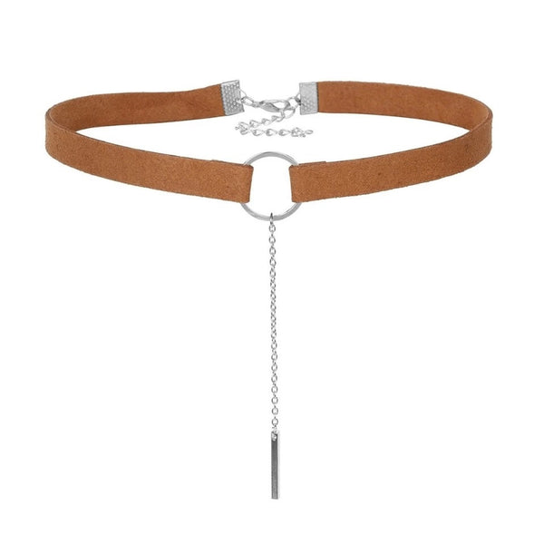 LOREN. Brown Silver Faux Suede Circle Choker | Elnique