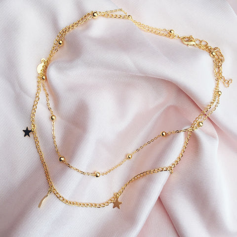 IMMY. Gold Tone Moon + Stars Layered Necklace | Elnique
