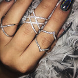 AUDRINA Double Wishbone Diamanté Ring | Elnique