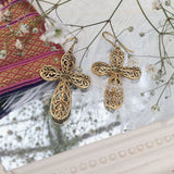 ALLEGRA Brass Ornamental Cross Earrings - ELNIQUE | Shop a treasure trove of boho jewellery, accessories and clothing