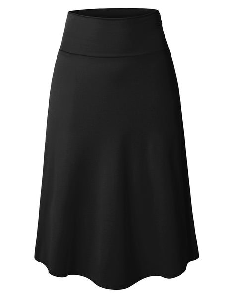 Womens Plus Size Lightweight Flared Midi Skater Skirt with Stretch (WB1344P)
