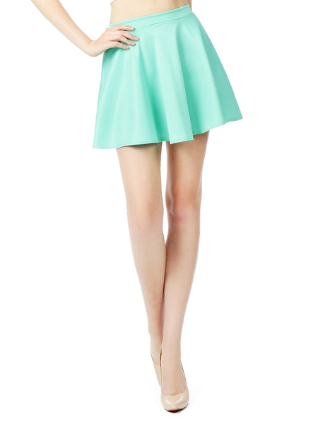 Womens Basic Versatile Stretchy Flared Skater Skirt (WB211)